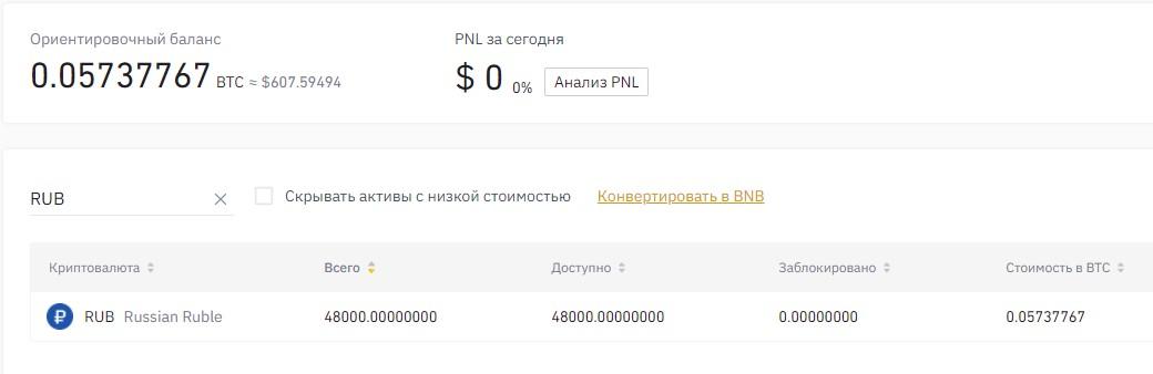 Страница личного счёта биржи Binance