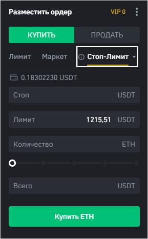 Интерфейс создания стоп-лимит ордера в терминале Binance