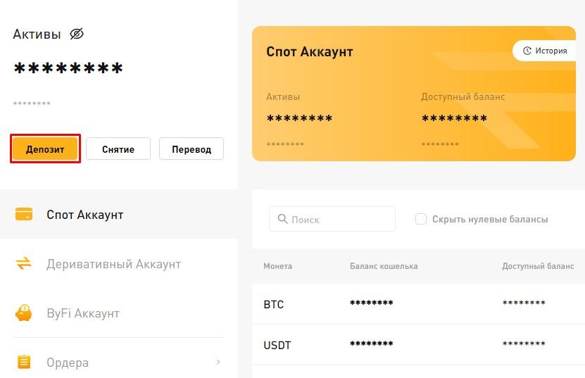 Депозит ByBit - страница активов пользователя