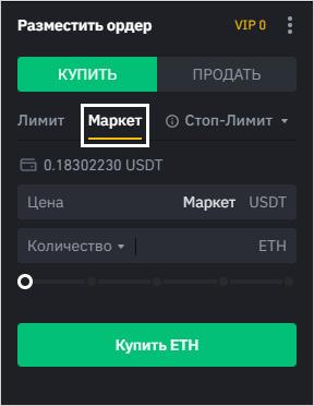Интерфейс создания рыночного ордера в терминале Binance