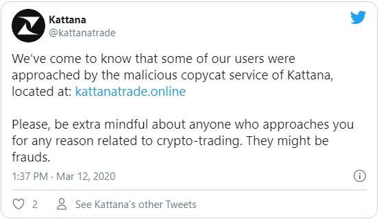 Руководство трейдинговой платформы Kattana предупреждает своих пользователей о наличии фейковых сайтов и приложений схожих с ними.
