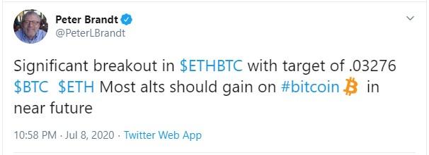 Питер Брандт, ранее констатировал существенный прорыв на графике ETH-BTC.