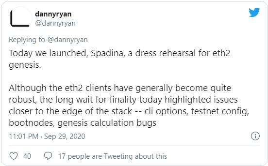 29 сентября была запущена тестовая сеть Spadina, направленная на тестирование и запуск генезис блока Ethereum 2.0