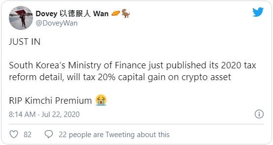 Государственные органы Кореи окончательно приняли разработанный ранее план о 20% налоге для граждан, которые совершают любого рода операции с криптовалютой.