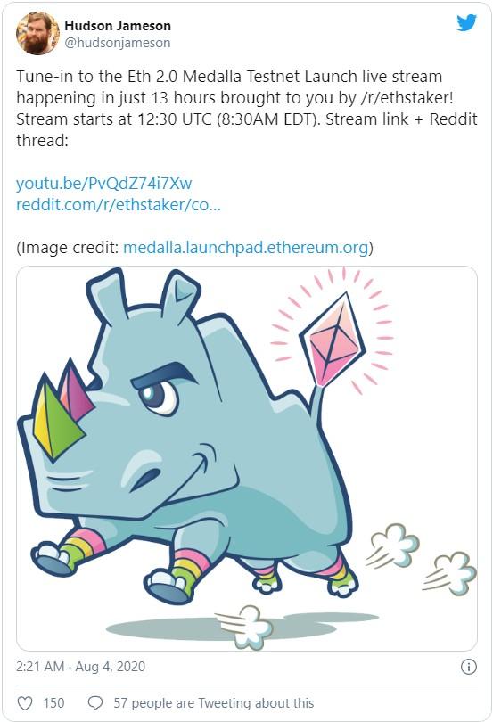 Окончание перехода к Ethereum 2.0 должно произойти в течение следующих нескольких лет. На 4 августа был запланирован тестент сети - запуск финальной тестовой сети Medalla. Это ключевой шаг к запуску ETH 2.0.