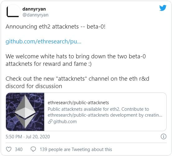 Разработчиками блокчейна Ethereum был объявлен запуск двух тестнетов ETH 2.0 для дополнительного тестирования на предмет каких-либо критических уязвимостей в системе. Также ими были объявлена сумма в $5000, как награда для «белых» хакеров, которые смогут найти какую-либо уязвимость и расскажут о ней.