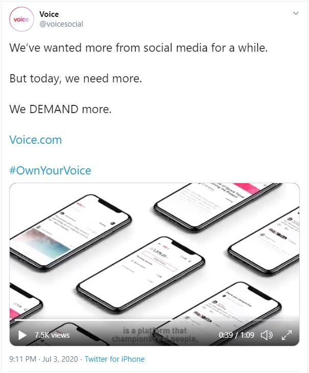 Анонс запуска социальной сети Voice.com в твиттере
