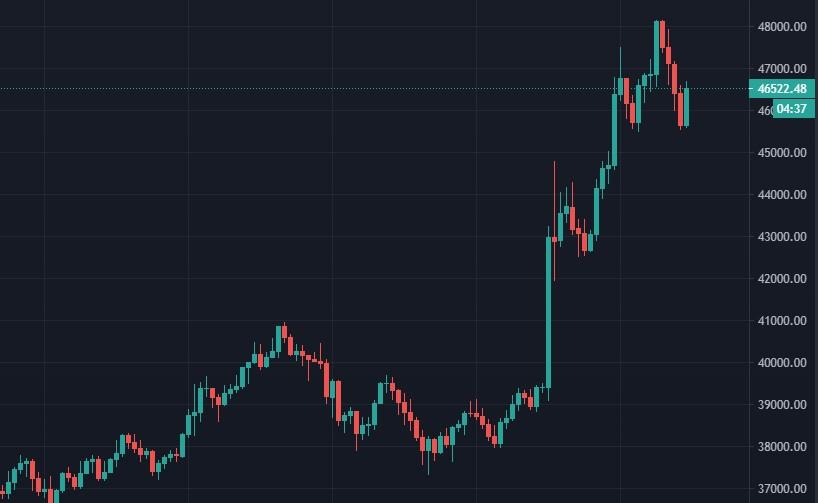 Согласно отчёту, инвестиции Tesla в биткоин составили $1.5 млрд. что вызвало рост биткоина с $39 000 до $48 000