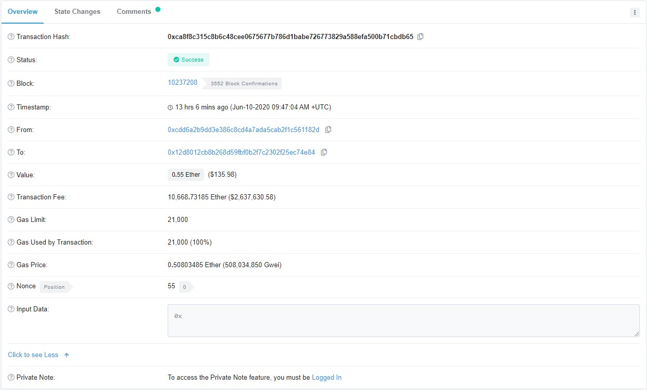 Ошибочная транзакция в сети Эфириума с рекордной комиссией в 2.6 млн долларов