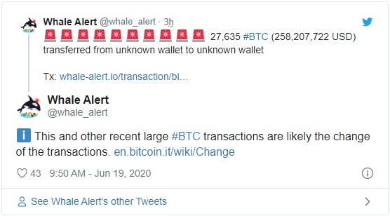Перевод 6 транзакция объёмом почти 242 000 BTC с неизвестных адресов