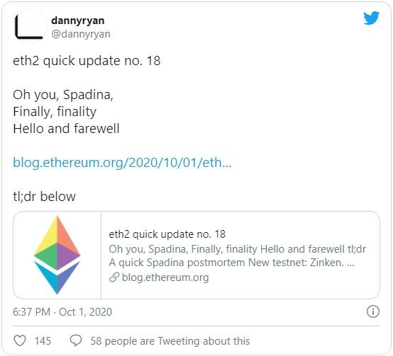 Команда разработчиков Ethereum анонсировали запуск последнего тестнета именуемого Zinken