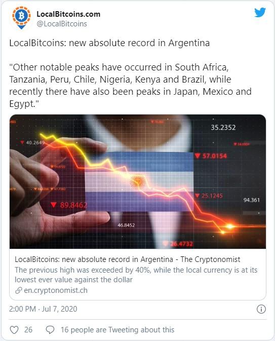 В LocalBitcoins сообщают, что активность торгов также наблюдалась в следующих странах: ЮАР, Танзания, Перу, Чили, Нигерия, Кения и Бразилия.