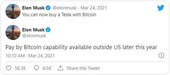 Сегодня в своём Twitter аккаунте Илон Маск сообщает о введение возможности оплаты за автомобили Tesla с помощью Биткоина.