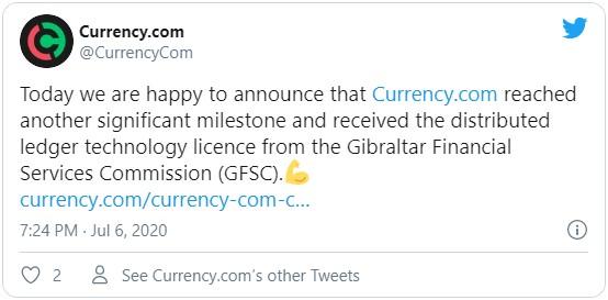 Сообщения от руководства криптовалютной биржи Currency.com о получении лицензии Гибралтара пользовающей реализовывать бизнес в сфере блокчейн технологий