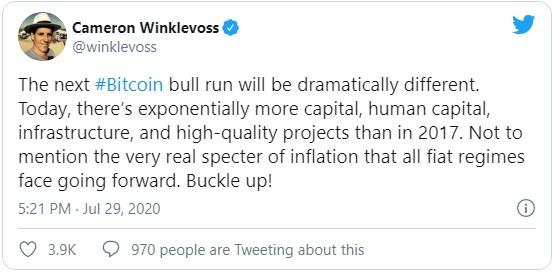 Основатель биржи Gemini Кэмерон Уинклвосс ожидает отличного от предыдущих бычьего рывка биткоина. В 2017 году, когда BTC штурмовал свой исторический максимум, было меньше капиталов, технологичных проектов, не была развита инфраструктура.