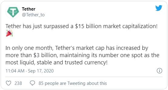 Руководство Tether поделилось данной информацией в своём официальном Twitter аккаунте о достижение рыночной капитализации usdt в $52 млрд.
