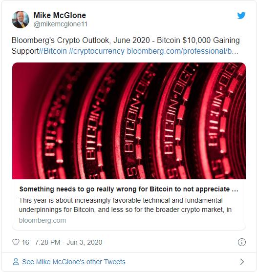 Отчёт Майка Макглоуна аналитика Bloomberg, который говорит о дальнейшем роста биткоина до $28 000 к концу 2020 года