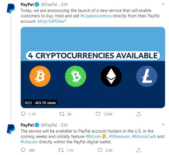 PayPal анонсировал подключение возможности торговли и хранения криптовалют через мобильный сервис Venmo