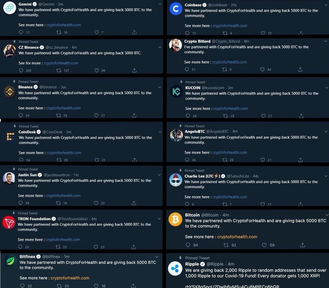 Twitter аккаунты криптовалютного сообщества которые попали под хакерскую атаку