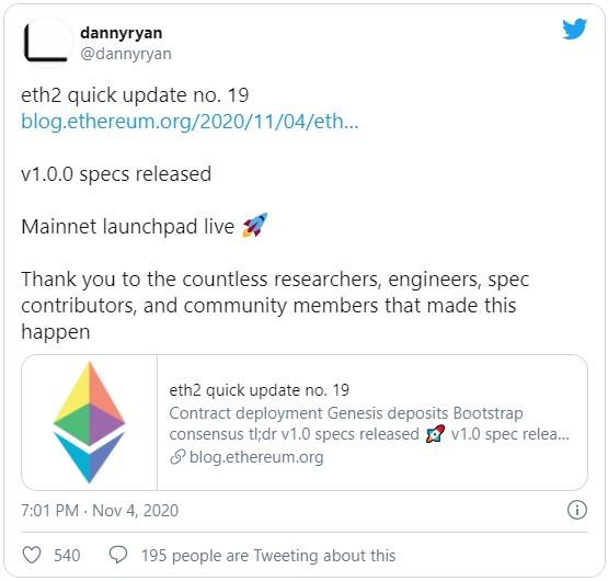 Команда разработчиков Ethereum Foundation анонсировала дату создания генезис блока Ethereum 2.0, она же дата создания депозитного для стекинга контракта ETH2.