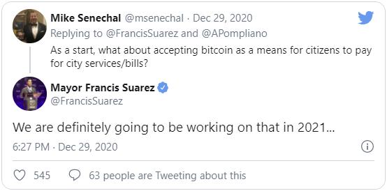 Мер маями Суарес заявил о реализации оплаты с помощью биткоина
