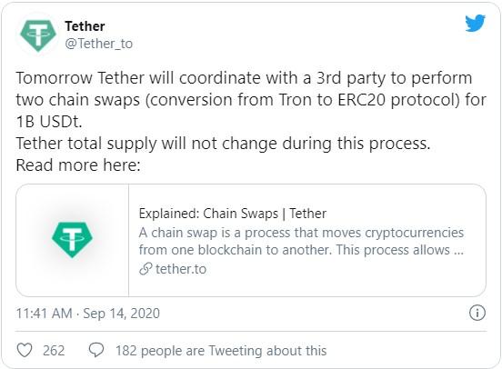 Во вторник, 15 сентября, компания Tether переместит 1 млрд эмитируемых ею монет USDT с блокчейна Tron на Ethereum