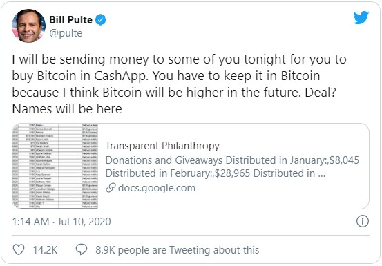 Сообщение в Твиттере Билла Пулте о розыгрыше в котором он разыграет по $100 для всех желающих на покупку биткоина