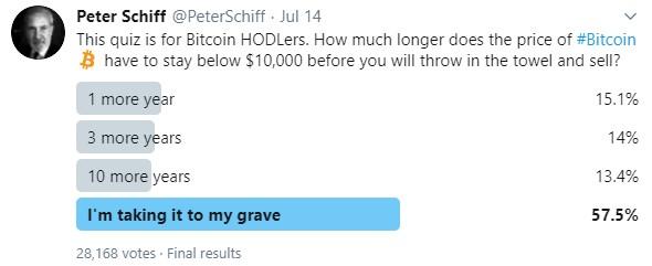 Ранее уже проводился подобный опрос, ещё в июле, немало известный критик биткоина Питер Шифф, провёл опрос, в котором приняли участие более 28 тысяч человек, 57.5% из них не планировали продавать биткоин - никогда.