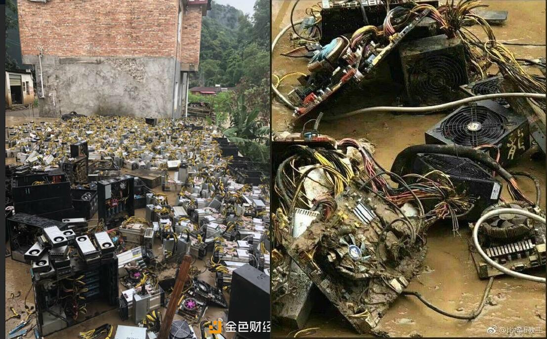 Новоднения в Китая стали причиной снижение хешрейта биткоина, в Сычуане затопило крупную майнинг ферму