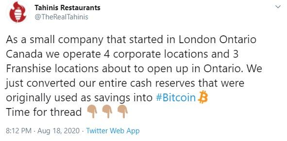 Cеть ресторанов Tahini's отныне будет конвертировать денежные резервы в первой криптовалюте