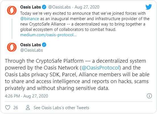 Крупнейшая криптобиржа Binance заключила партнерское соглашение с компанией Oasis Labs для борьбы с мошенничеством в криптосфере.