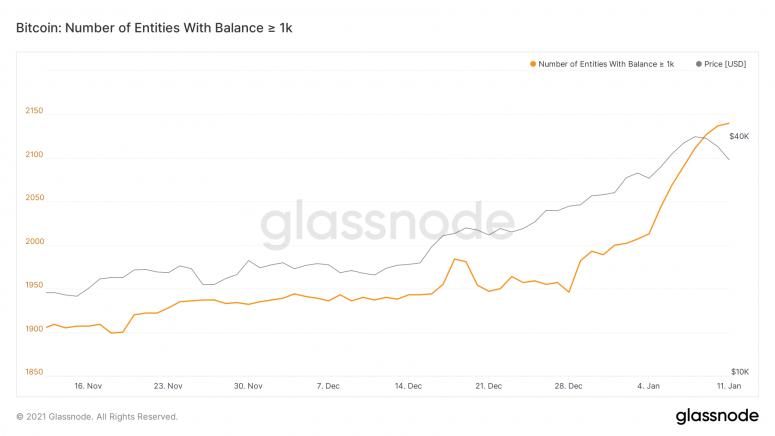 График количества адресов биткоина с балансом выше 1 тыс. BTC