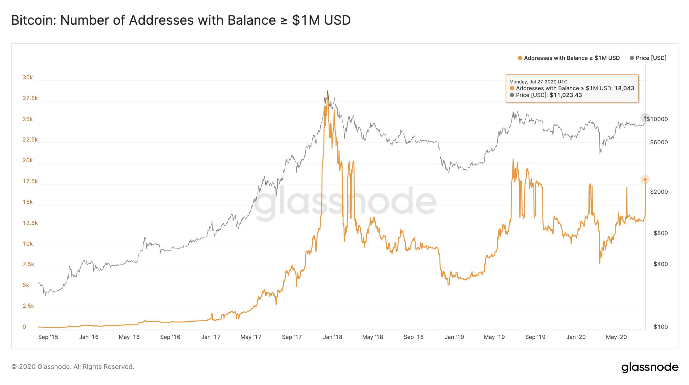 В результате начавшегося ралли биткоина, количество держателей криптовалюты, объёмы инвестиций которых составляет минимум $1 млн. возросло на 38%