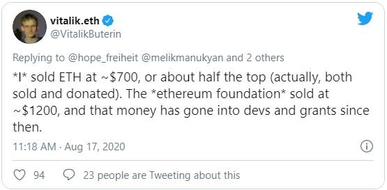 Известно, что головная компания проекта Ethereum Foundation закрыла позиции (речь идет, предположительно, о 70 000 ETH) при цене монет около $1 200; вырученные средства ($100 млн) пошли на финансирование проекта и развитие экосистемы второй по капитализации криптовалюты.