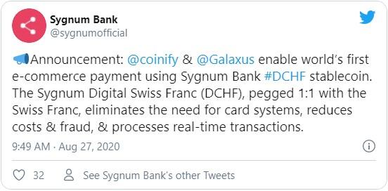 Накануне банк Sygnum заявил об успешно осуществленной первой транзакции с использованием цифрового франка.