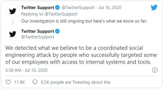 оциальная сеть Twitter начала своё личное расследование, полученной информации пока немного, однако расследование продолжается.