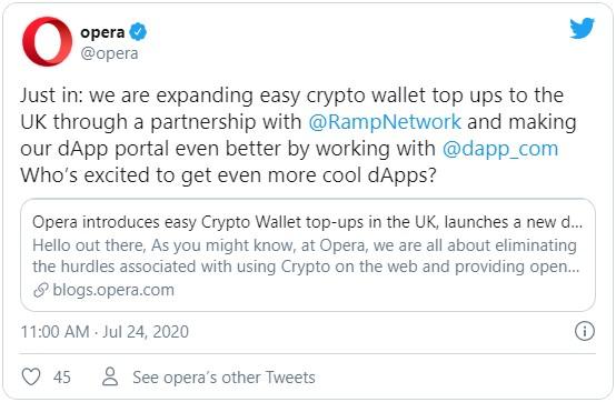 Согласно новому отчету компании Opera, представляющей популярный браузер, криптовалютными продуктами сервиса ежемесячно пользуются 170 тысяч человек.