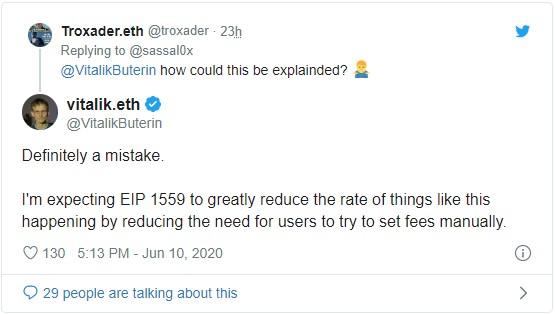 Выталик Бутерин высказался касательно ситуации с комиссией в $2.6 млн в сети Эфириума
