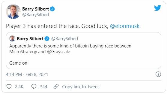 Барри Силберт, являющийся основателем Digital Currency пожелал удачи Илону Маску после присоединения его компании к MicroStrategy, а именно к Grayscale Investments.