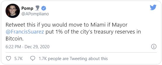 Энтони Помплиано, являющийся со основателем Morgan Creek Digital просил сделать ретвит его сообщения пользователям на своей странице в Twitter, о том, что в случае инвестирования какой-либо части бюджета Майами в BTC, он будет готов туда переехать.