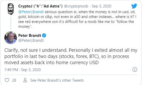 Легендарный трейдер Питер Брандт, успешно торгующий на крипторынке, благодаря использованию инструментов технического анализа, ликвидировал позиции на фондовом рынке. Также эксперт продал и биткоины.