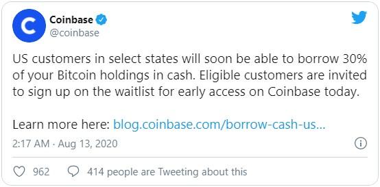 Крупнейшая американская криптобиржа Coinbase объявила о реализации проекта по выдачи кредитов в фиате под залог криптовалюты