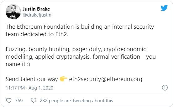 Джастин Дрейк из Ethereum Foundation сообщил, что организация начала формировать команду специалистов, которые будут работать над устранением киберугроз в преддверии запуска обновленной сети Ethereum 2.0.