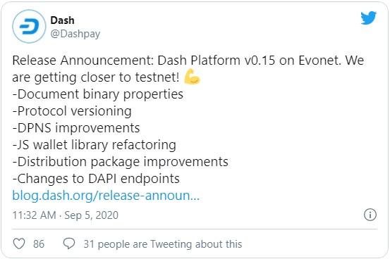 Команда разработчиков криптовалюты Dash, опубликовала анонс о выпуске обновлённой версии платформы (Dash Platform v0.15) направленной на создание децентрализованных приложений.