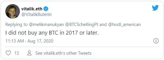 По словам Виталия Бутерина - он не приобретал BTC ни в 2017 году, ни позже.